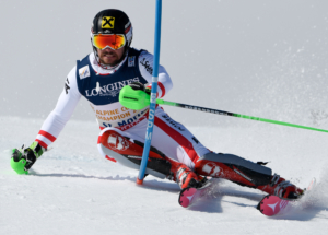 Skier in a Giant slalom race